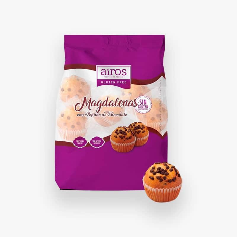 Envase de Magdalenas con Pepitas de Chocolate sin gluten Airos