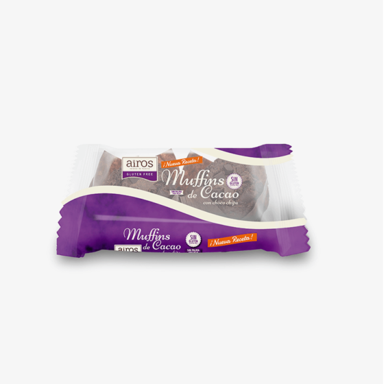 Envase de 2 Muffins de Cacao con Pepitas de Chocolate sin gluten Airos