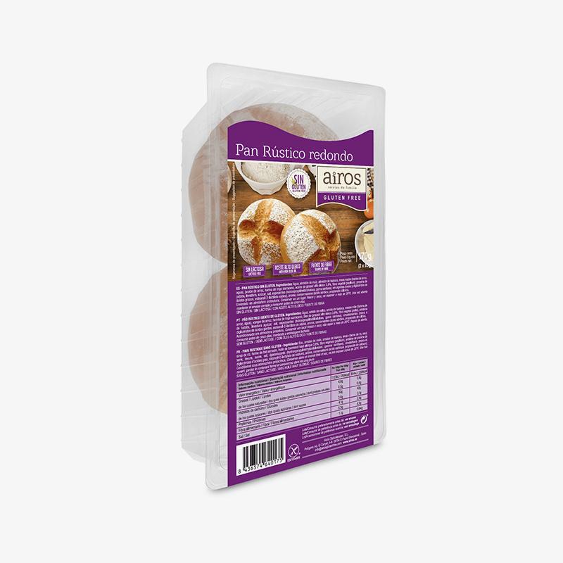 Envase de 2 panes rústicos redondos sin gluten Airos