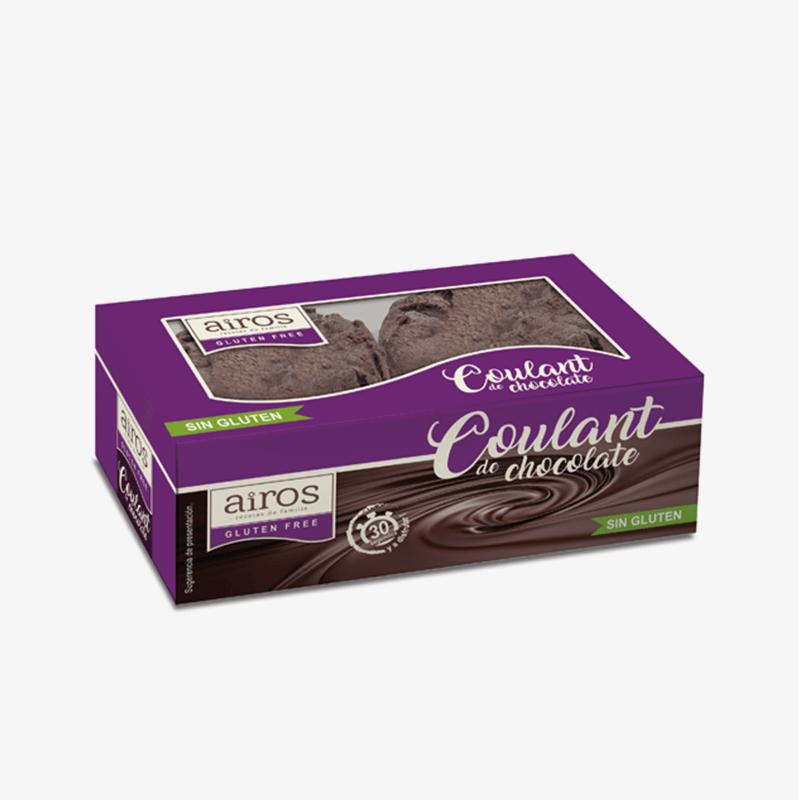 Envase de 2 coulants de chocolate sin gluten Airos