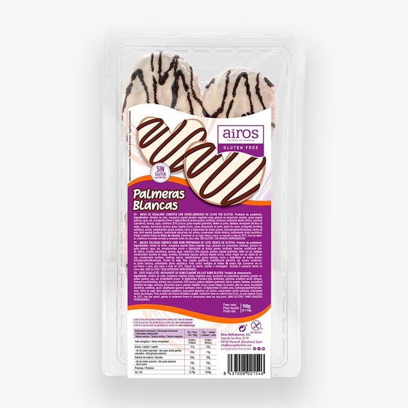 Packaging de 2 palmeras blancas sin gluten Airos