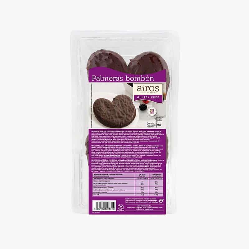 Packaging de 2 palmeras de chocolate negro sin gluten Airos