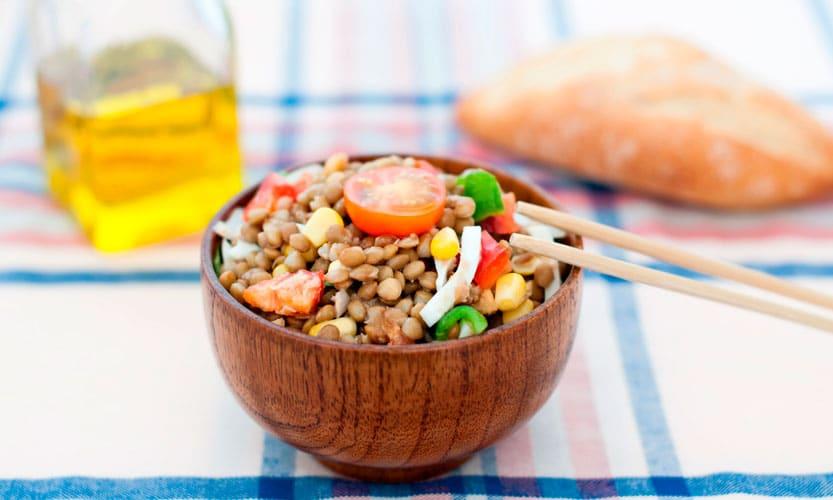 Receta sin gluten de ensalada de lentejas